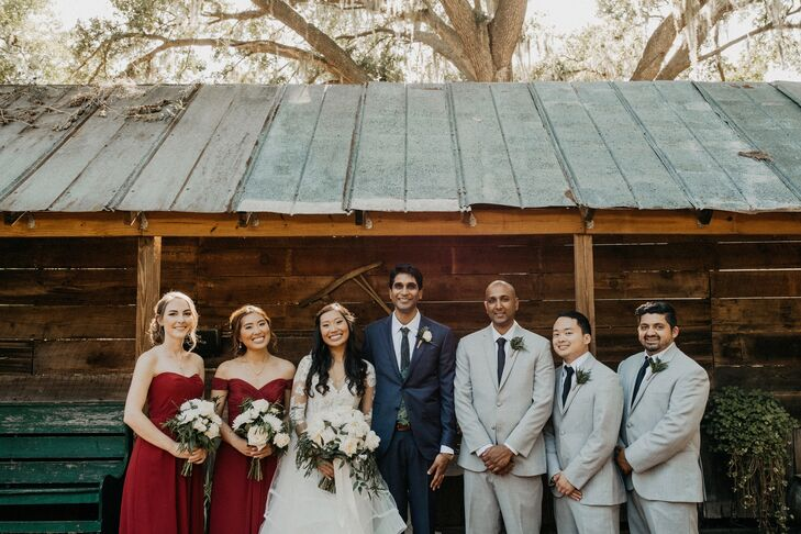 Burgundy Bridesmaid Dresses and Pale Gray Suits
