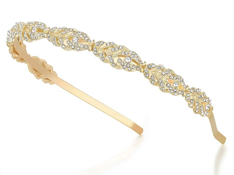 Rhinestone headband in gold