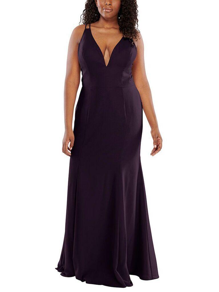 Eggplant plus-size bridesmaid dress
