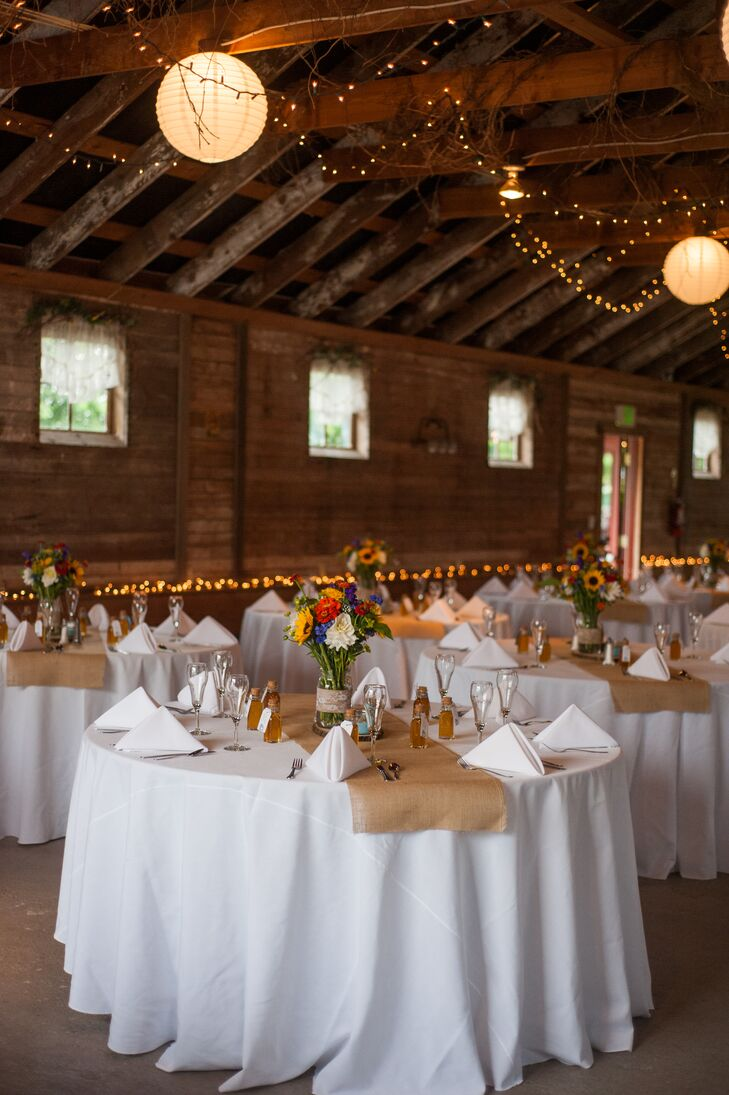 Barn Reception White And Burlap Linens