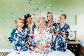 Navy Floral Bridesmaid Robes