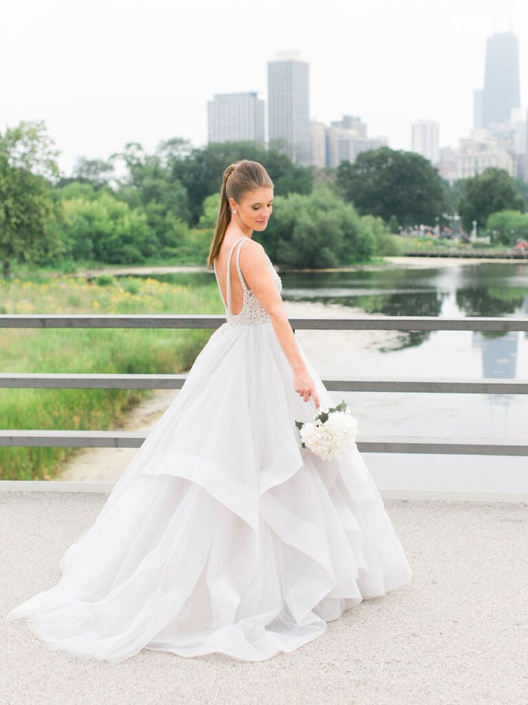 Gray Ball Gown Wedding Dress With Layered Organza Skirt For A Modern