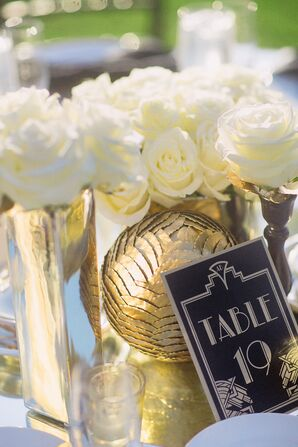 Art Deco-Inspired Table Number and Centerpiece
