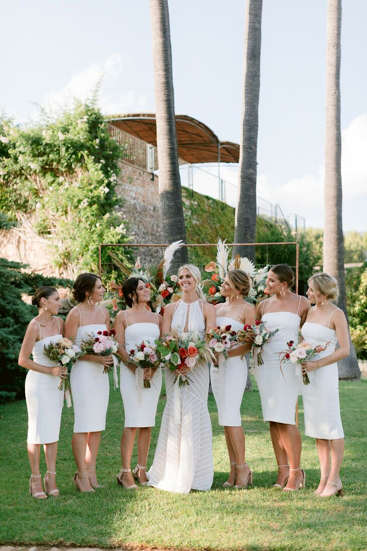 Bridal Party in White for Wedding at Finca Es Cabas in Mallorca, Spain