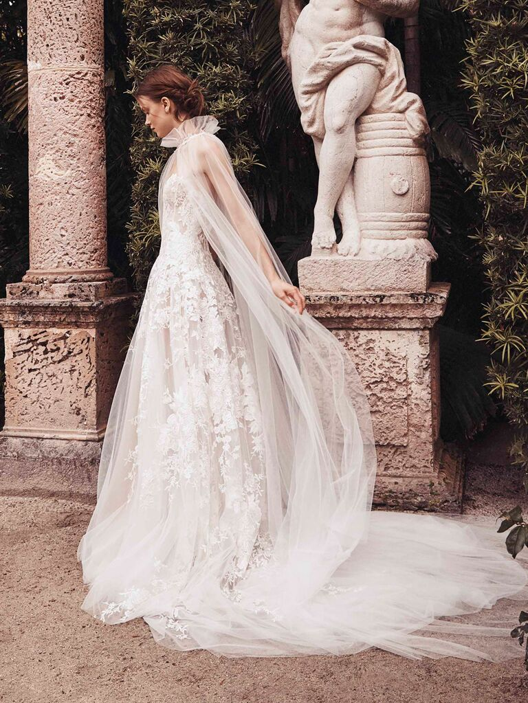 Monique Lhuillier Spring 2020 Bridal Collection tulle and lace wedding dress with train