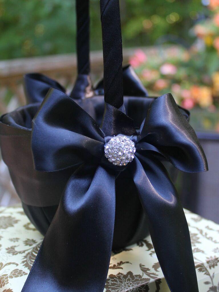 black satin basket