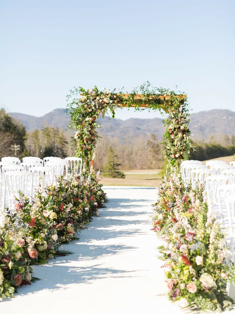 Outdoor ceremony space with flowers