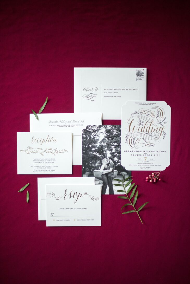 Whimsical Gold Script Wedding Invitations