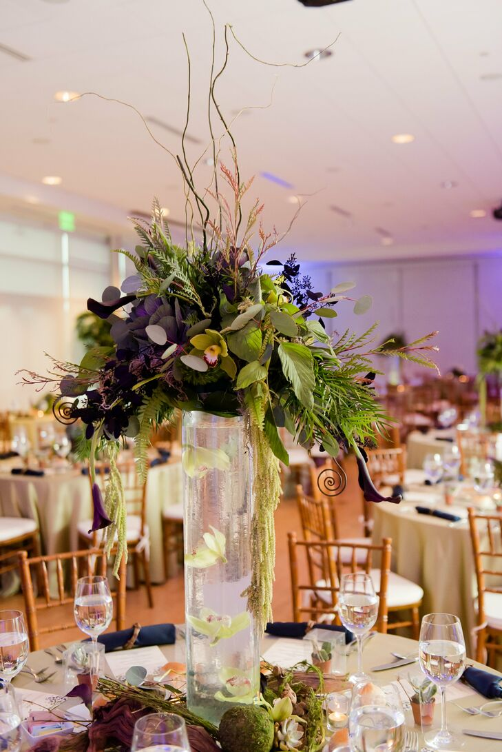 Lush Green Centerpieces with Floating Orchid Vase
