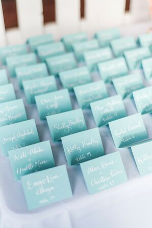 Light Blue Escort Cards for Connecticut Wedding
