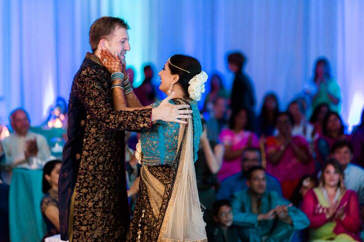 Midnight-Blue, Gold and Turquoise Sangeet Outfits