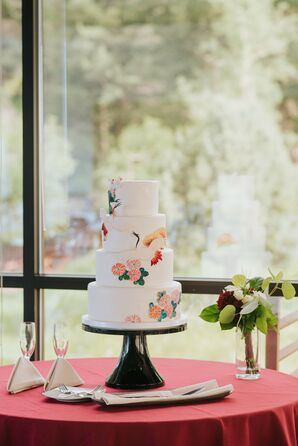 Fondant Wedding Cake with Japanese-Inspired Design