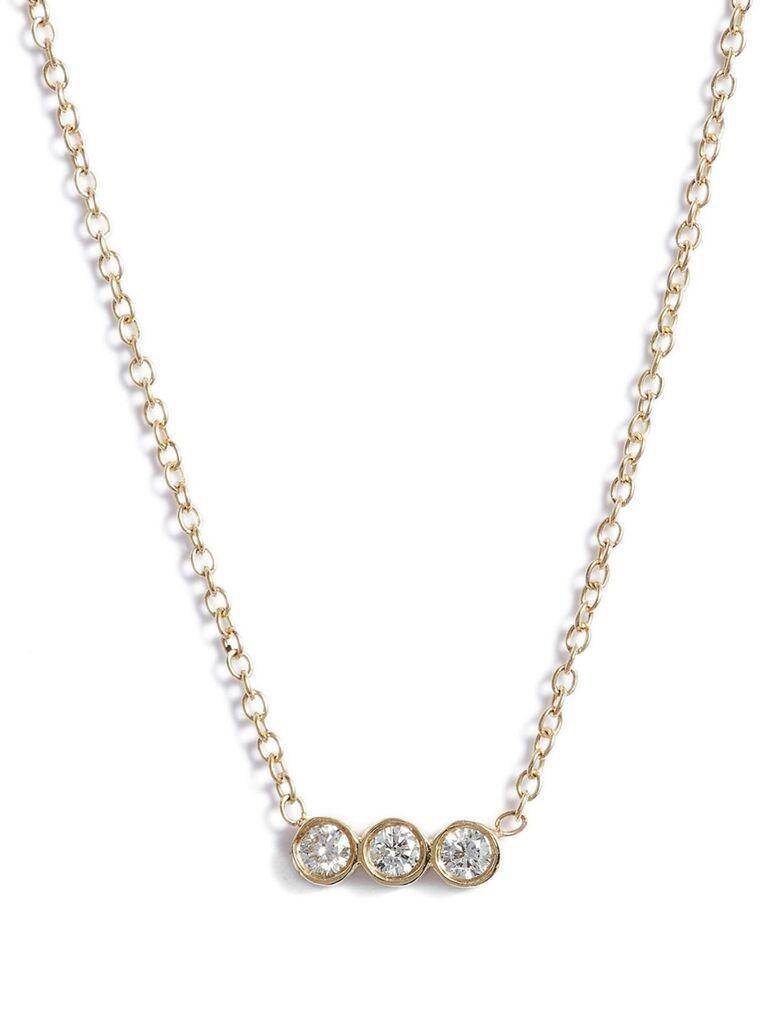 Bezel diamond bridal necklace