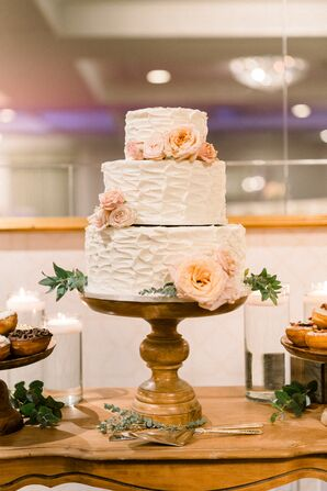 Formal White Wedding Cake with Flowers