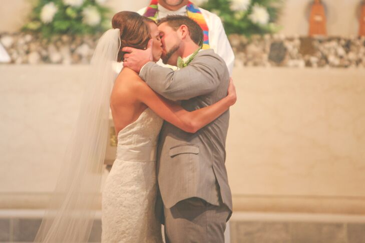Lauren and Josh First Kiss at Concordia Lutheran Church