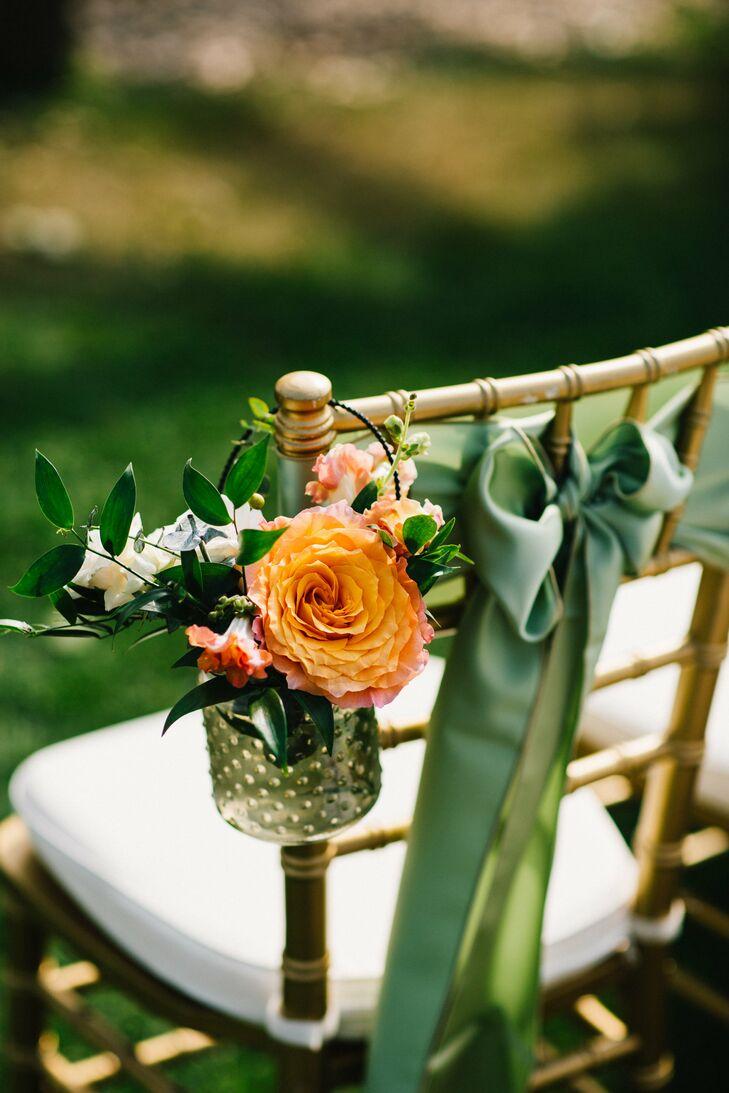 Hanging Flower Arrangement on Ceremony Chair