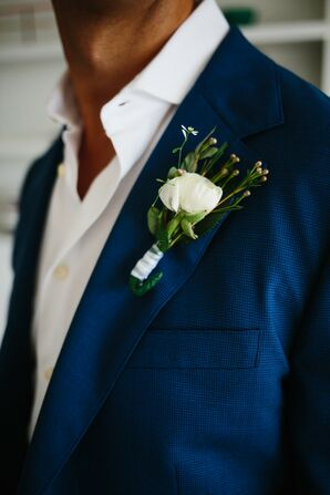 Classic White Rose Boutonniere with Greenery