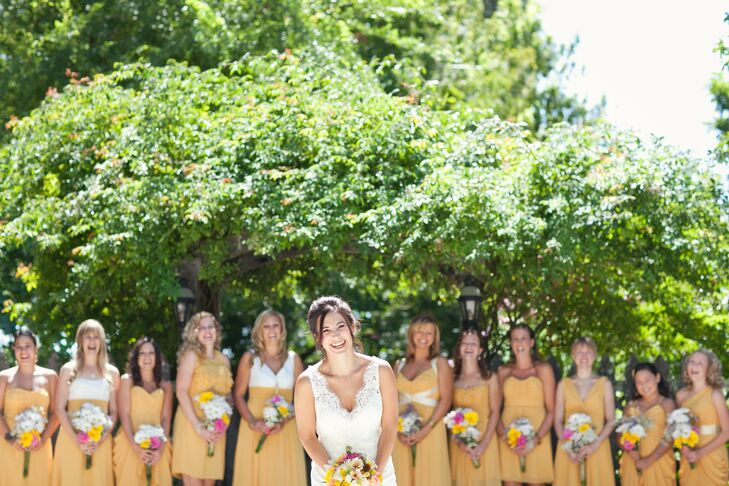 Yellow Mismatched Bridesmaid Dresses