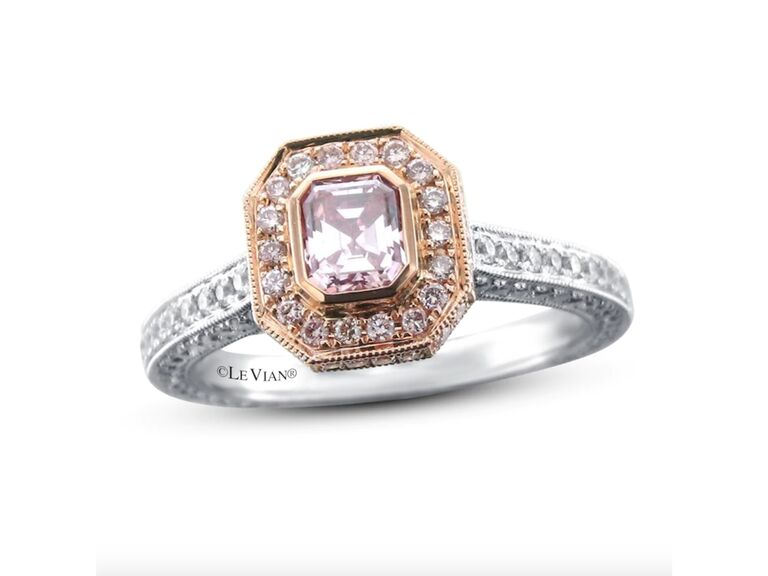Le Vian pink diamond ring in platinum and 18K white strawberry gold