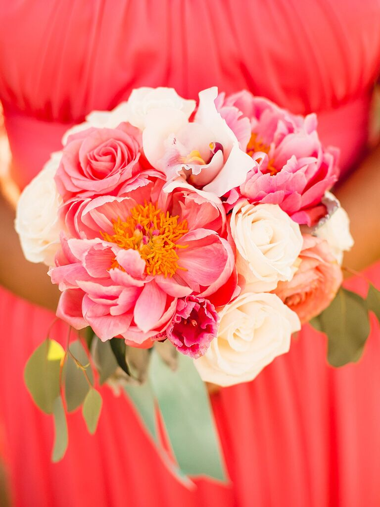 Bright bridesmaid bouquet with peonies, roses and lilies