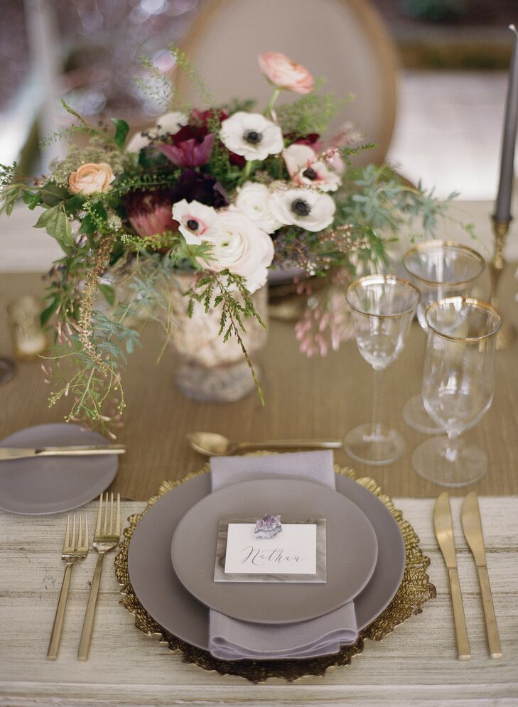 Matte Gray and Gold Place Settings