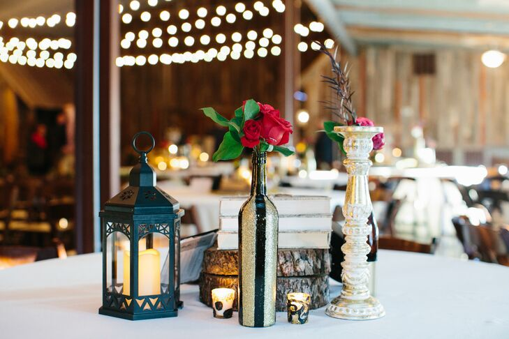 Rustic Wood Slice, Lantern and Book Centerpieces