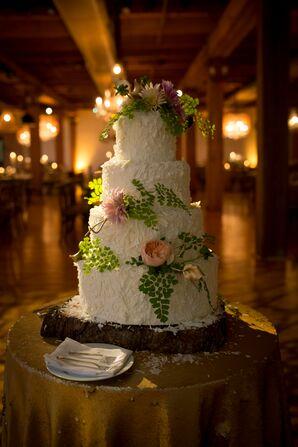 White Wedding Cake with Cascading Flowers