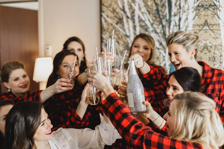 Bridesmaids Get Ready in Tartan Button Downs and with Mimosas