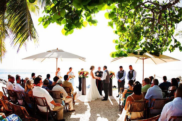 The couple held their ceremony on the beach at the Fort Zachary Taylor Historic State Park.