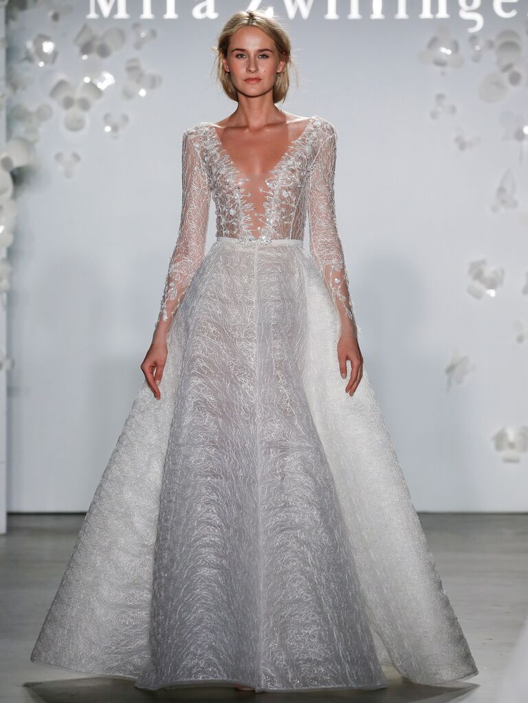 Mira Zwillinger Spring 2020 Bridal Collection embroidered A-line wedding dress