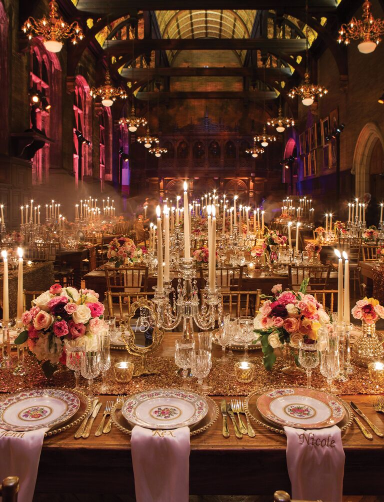 20 easy ways to decorate your wedding reception dramatic wedding reception with tall taper candles junglespirit Choice Image