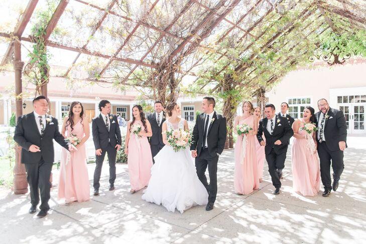 Pink One-Shoulder Bridesmaid Dresses