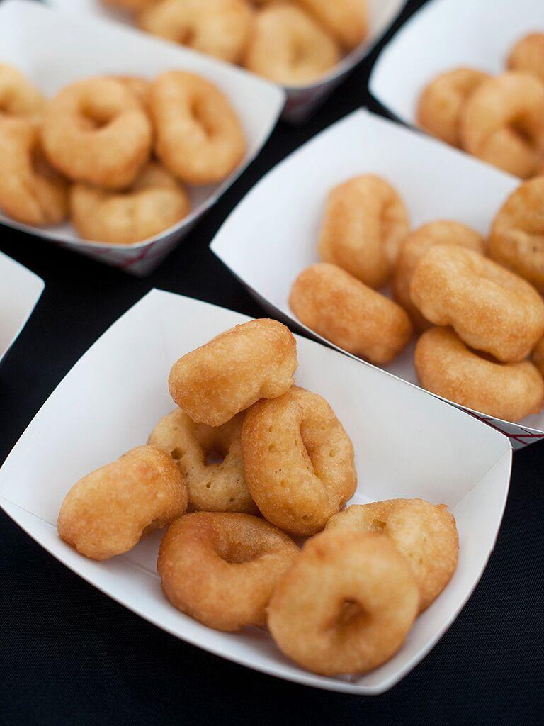 Freshly made mini doughnut wedding desserts