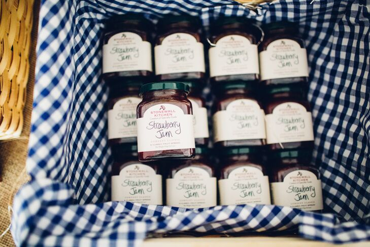 """For our favors we wanted to give the guests something practical that they would enjoy using when they got home,"" Shaylyn says. The couple selected a variety of locally made jams from York-based Stonewall Kitchen, a coastal-area favorite, for guests to take home."