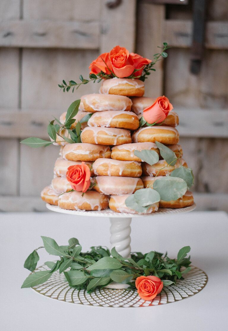 10 scrumptious real wedding doughnut displays romantic doughnuts cake with orange garden roses junglespirit Gallery