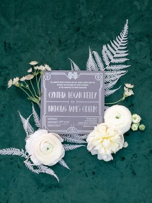 Gray and White Art Deco Wedding Invitation