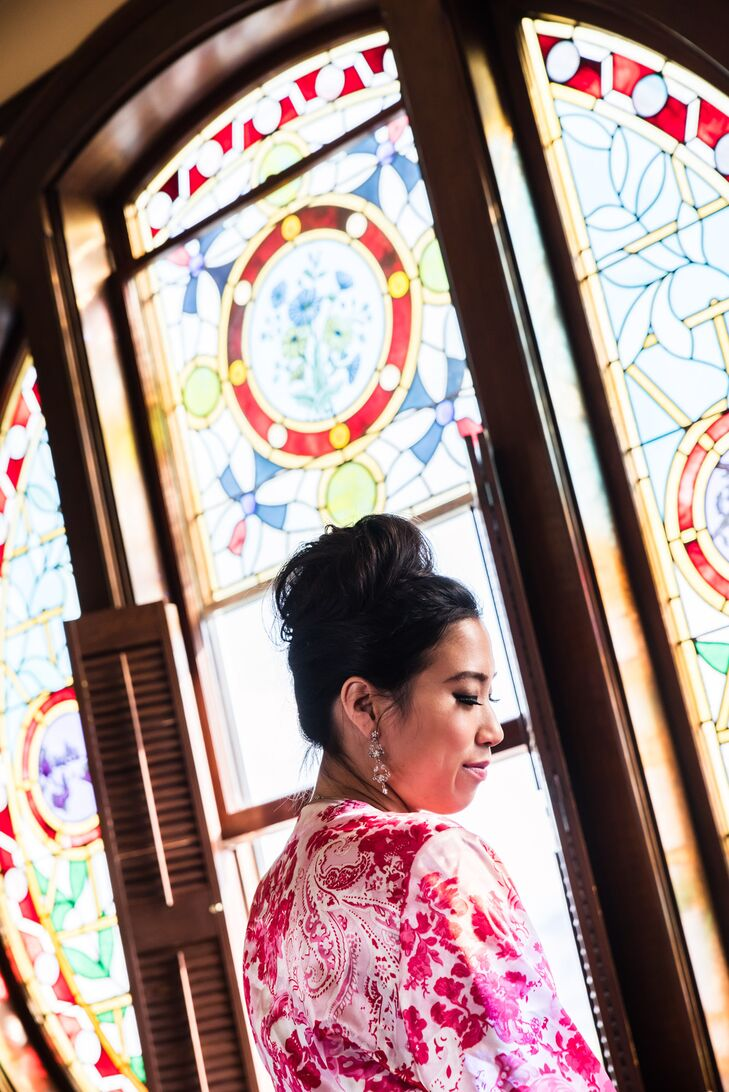 Bride Getting Ready in a Silk Pink Floral Robe