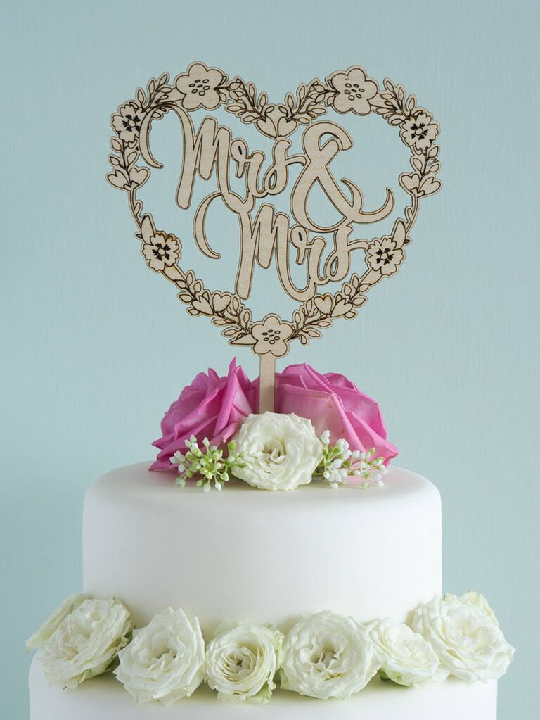 Floral Mrs. & Mrs. wedding cake topper