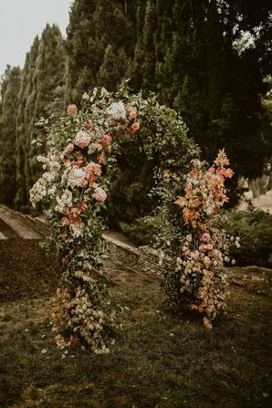 Lush Floral Arch for Wedding at Villa del Sol d'Oro in Sierra Madre, California