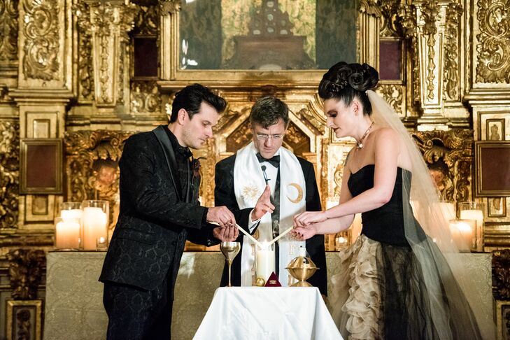 Lindsay and Justin were married in a custom Ceremonial Thelemic Magic Ritual, which was performed under an 18k gold altarpiece that is more than 200 years old.