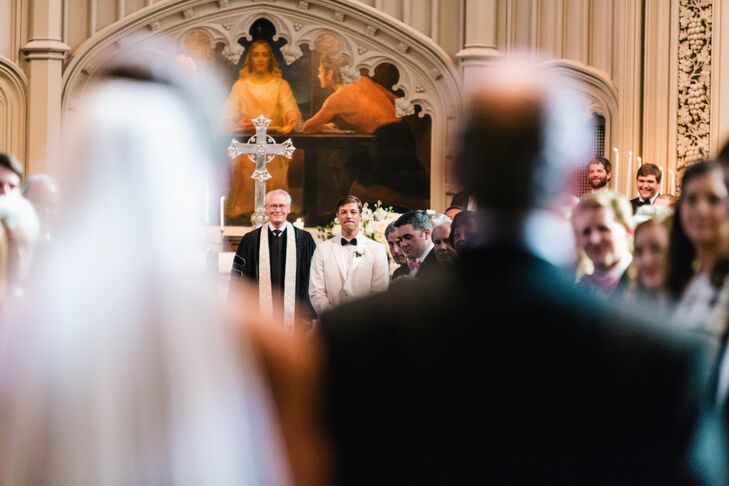 Mary Claire had her father, Matthew Merlino, walk her down the aisle at Peachtree Christian Church.