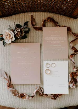 Blush Invitations for Wedding at Tin Roof Barn in White Salmon, Washington