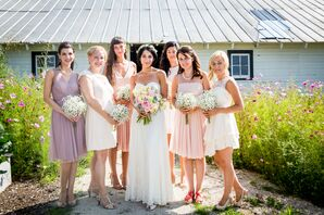 Mismatched Pink and Purple Bridesmaid Dresses