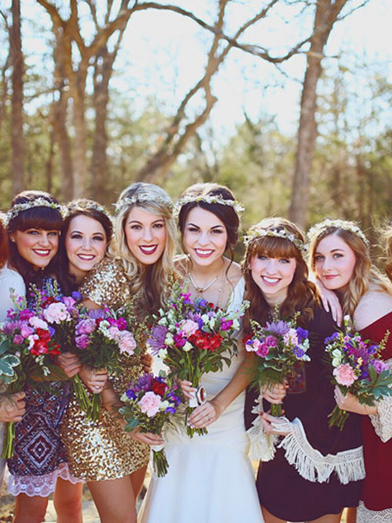Boho bridesmaid style with flower crowns