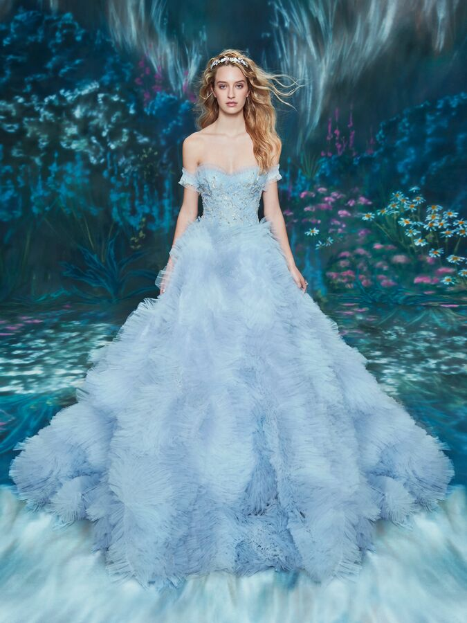 Ines Di Santo ombré ball gown with ruffled skirt