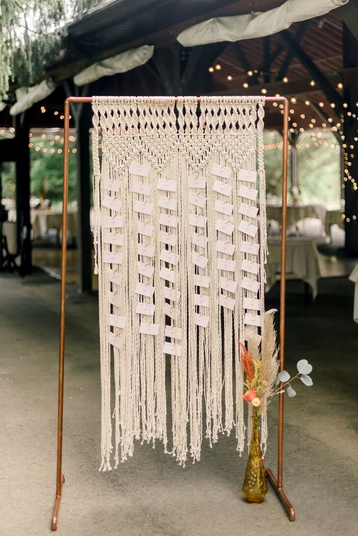 Bohemian Macramé Hanging Escort Card Display