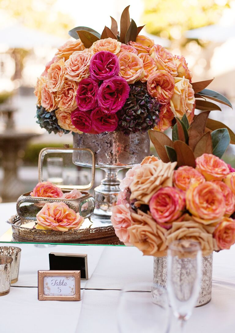 Assorted pink and peach garden roses
