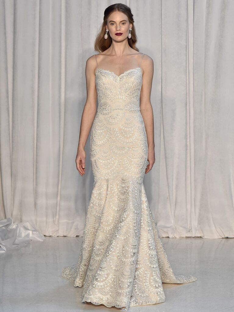 65f99ef26da7 Anne Barge Fall 2018 wedding dresses with spaghetti straps and mermaid  silhouette