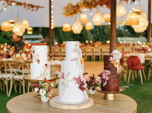 Wedding Cake Trio in Shades of White and Brown