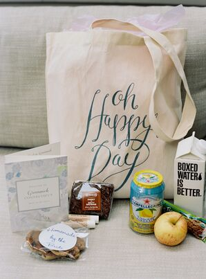 Canvas Welcome Bag with Snacks and Drinks